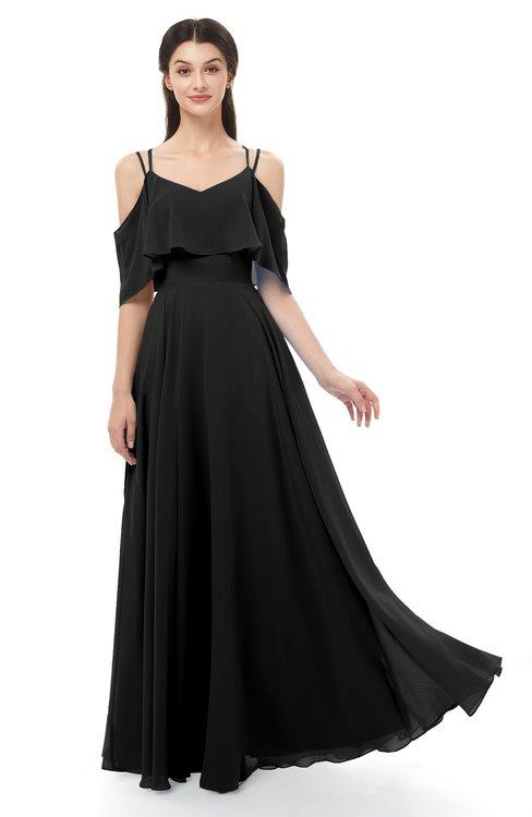 ColsBM Jamie Black Bridesmaid Dresses Floor Length Pleated V-neck Half Backless A-line Modern