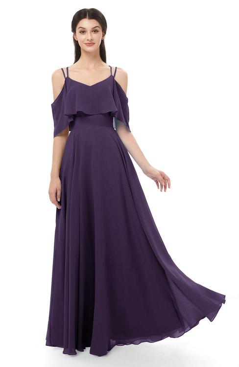 ColsBM Jamie Blackberry Cordial Bridesmaid Dresses Floor Length Pleated V-neck Half Backless A-line Modern