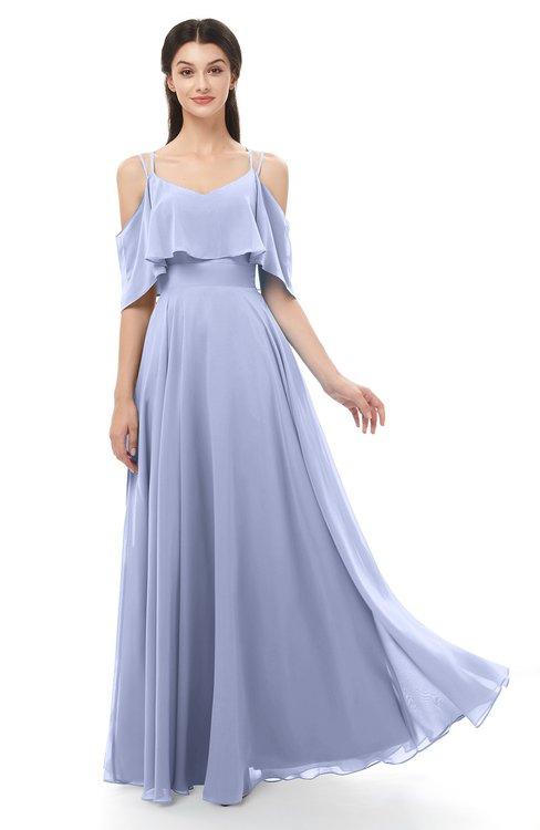 ColsBM Jamie Blue Heron Bridesmaid Dresses Floor Length Pleated V-neck Half Backless A-line Modern