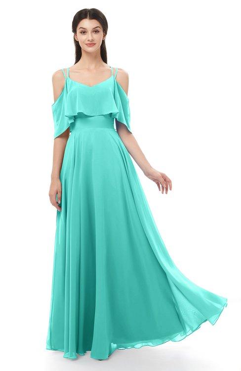 ColsBM Jamie Blue Turquoise Bridesmaid Dresses Floor Length Pleated V-neck Half Backless A-line Modern