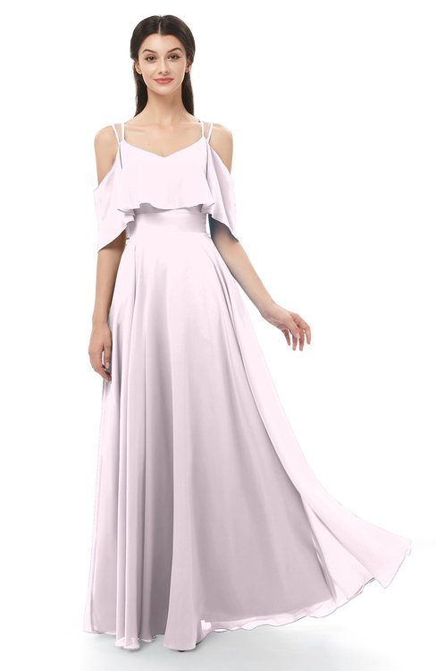 ColsBM Jamie Blush Bridesmaid Dresses Floor Length Pleated V-neck Half Backless A-line Modern