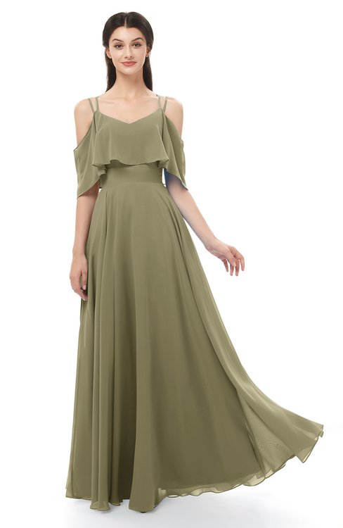 ColsBM Jamie Boa Bridesmaid Dresses Floor Length Pleated V-neck Half Backless A-line Modern