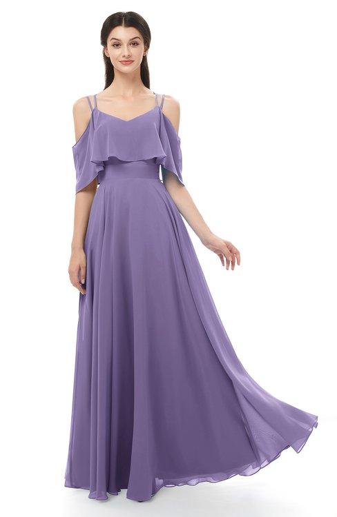 ColsBM Jamie Chalk Violet Bridesmaid Dresses Floor Length Pleated V-neck Half Backless A-line Modern