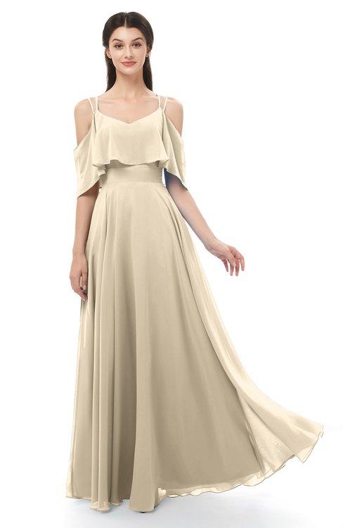 ColsBM Jamie Champagne Bridesmaid Dresses Floor Length Pleated V-neck Half Backless A-line Modern