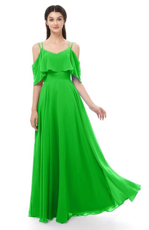 ColsBM Jamie Classic Green Bridesmaid Dresses Floor Length Pleated V-neck Half Backless A-line Modern