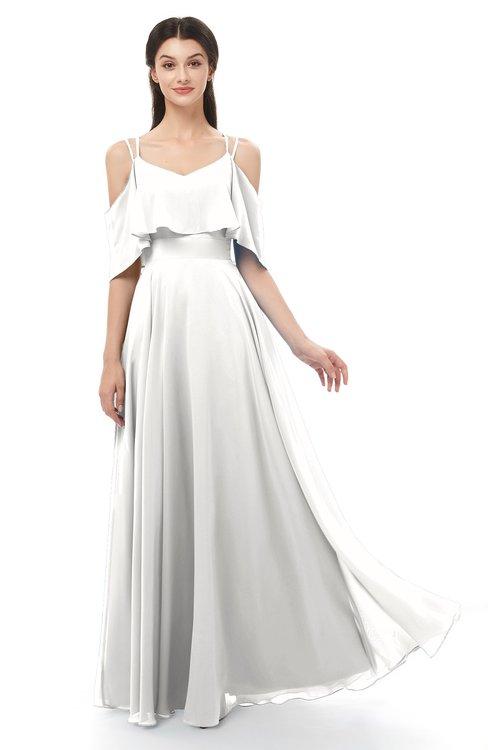 ColsBM Jamie Cloud White Bridesmaid Dresses Floor Length Pleated V-neck Half Backless A-line Modern