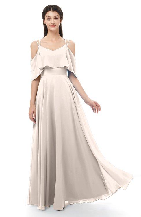 ColsBM Jamie Cream Pink Bridesmaid Dresses Floor Length Pleated V-neck Half Backless A-line Modern