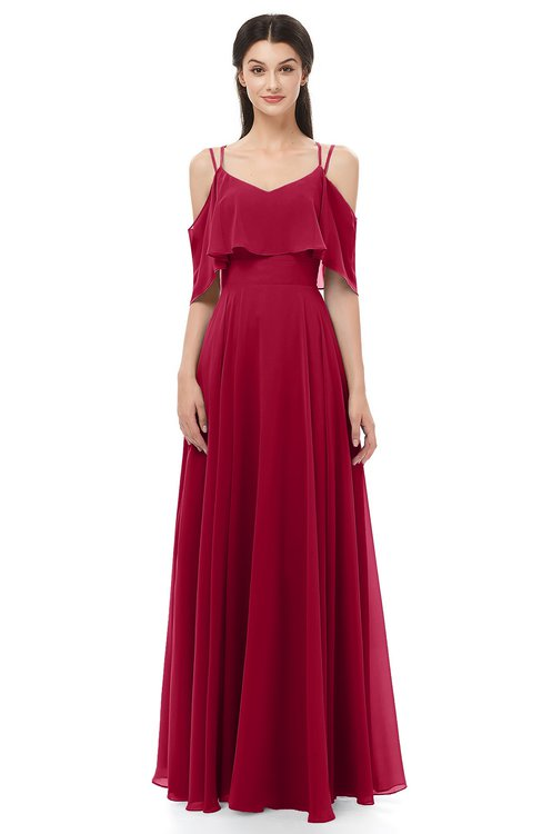 f2654df5447b ... ColsBM Jamie Dark Red Bridesmaid Dresses Floor Length Pleated V-neck  Half Backless A- ...