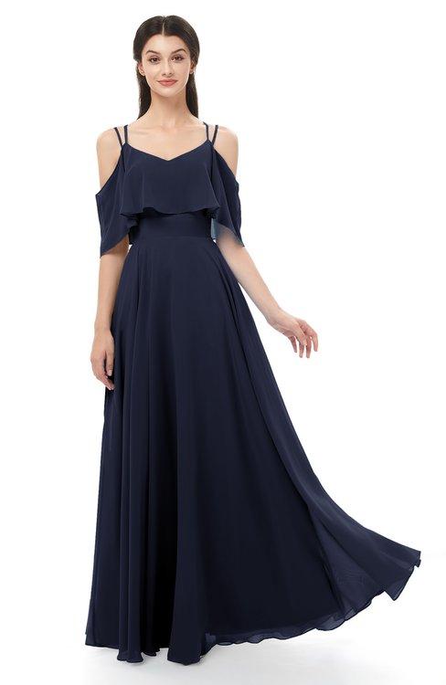 ColsBM Jamie Dark Sapphire Bridesmaid Dresses Floor Length Pleated V-neck Half Backless A-line Modern