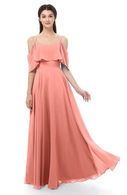 ColsBM Jamie Desert Flower Bridesmaid Dresses Floor Length Pleated V-neck Half Backless A-line Modern