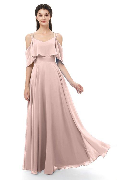 ColsBM Jamie Dusty Rose Bridesmaid Dresses Floor Length Pleated V-neck Half Backless A-line Modern
