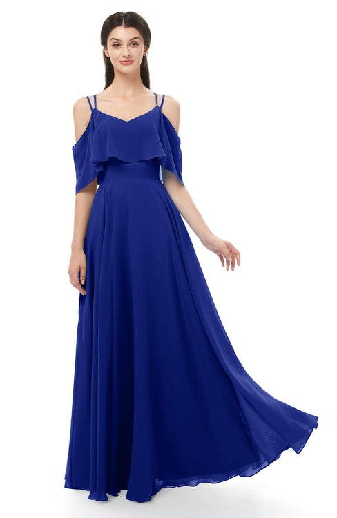 ColsBM Jamie Electric Blue Bridesmaid Dresses Floor Length Pleated V-neck Half Backless A-line Modern