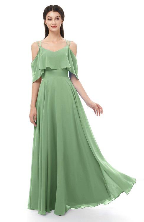 ColsBM Jamie Fair Green Bridesmaid Dresses Floor Length Pleated V-neck Half Backless A-line Modern