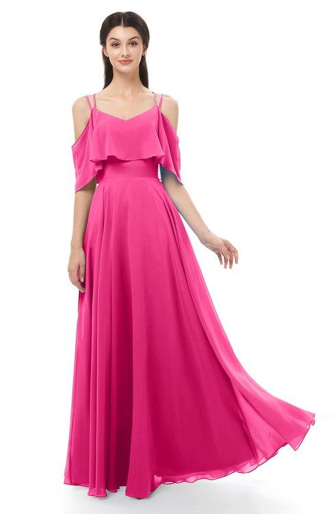 ColsBM Jamie Fandango Pink Bridesmaid Dresses Floor Length Pleated V-neck Half Backless A-line Modern