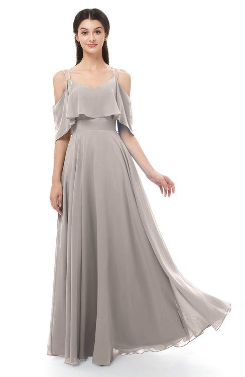 ColsBM Jamie Fawn Bridesmaid Dresses Floor Length Pleated V-neck Half Backless A-line Modern