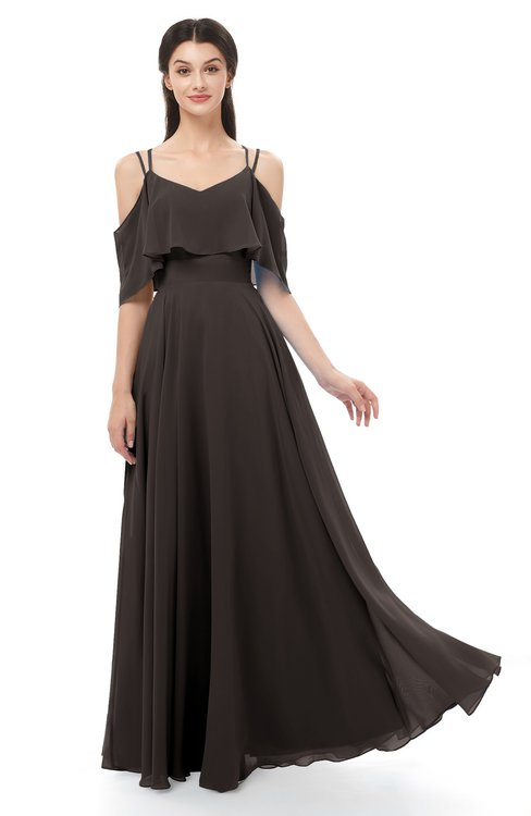 ColsBM Jamie Fudge Brown Bridesmaid Dresses Floor Length Pleated V-neck Half Backless A-line Modern