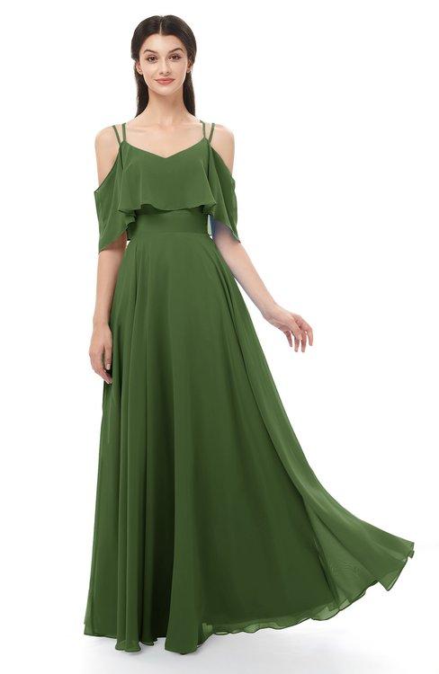 ColsBM Jamie Garden Green Bridesmaid Dresses Floor Length Pleated V-neck Half Backless A-line Modern