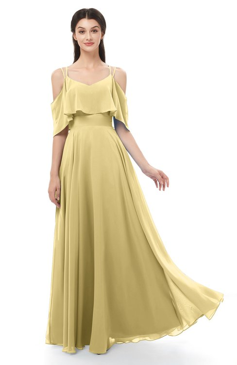 ColsBM Jamie Gold Bridesmaid Dresses Floor Length Pleated V-neck Half Backless A-line Modern