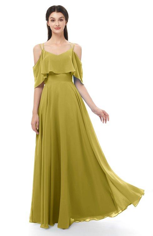 ColsBM Jamie Golden Olive Bridesmaid Dresses Floor Length Pleated V-neck Half Backless A-line Modern