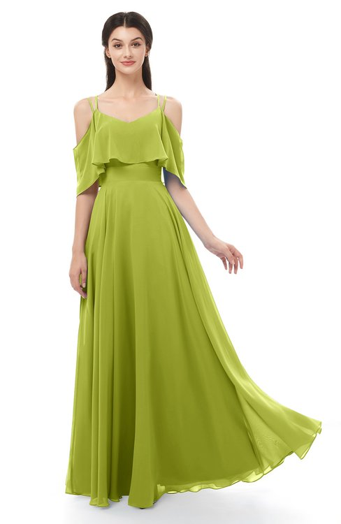 ColsBM Jamie Green Oasis Bridesmaid Dresses Floor Length Pleated V-neck Half Backless A-line Modern
