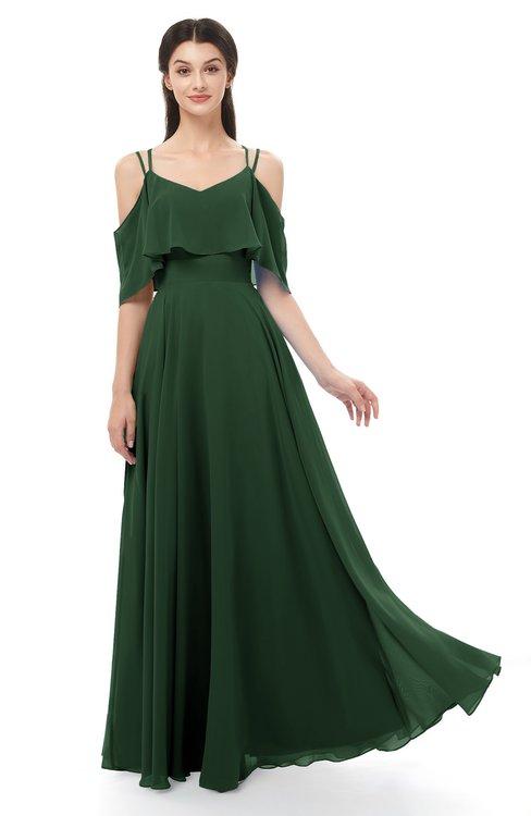 ColsBM Jamie Hunter Green Bridesmaid Dresses Floor Length Pleated V-neck Half Backless A-line Modern