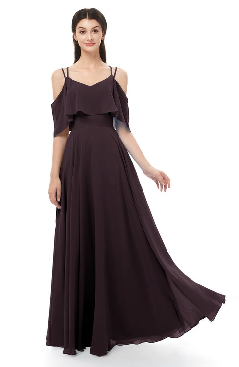 ColsBM Jamie Italian Plum Bridesmaid Dresses Floor Length Pleated V-neck Half Backless A-line Modern