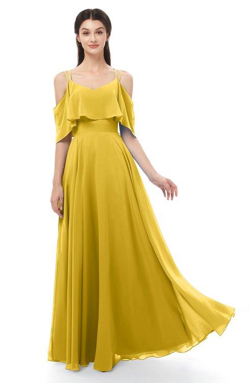 ColsBM Jamie Lemon Curry Bridesmaid Dresses Floor Length Pleated V-neck Half Backless A-line Modern