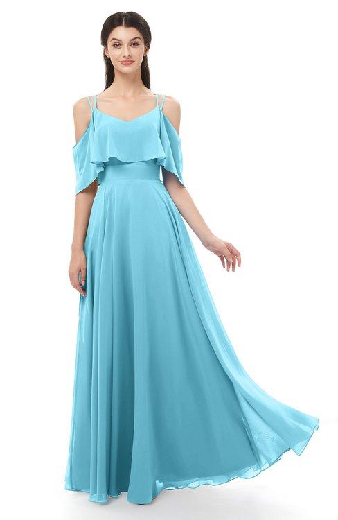 ColsBM Jamie Light Blue Bridesmaid Dresses Floor Length Pleated V-neck Half Backless A-line Modern