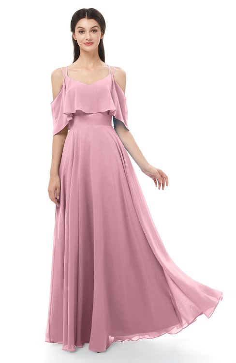 ColsBM Jamie Light Coral Bridesmaid Dresses Floor Length Pleated V-neck Half Backless A-line Modern
