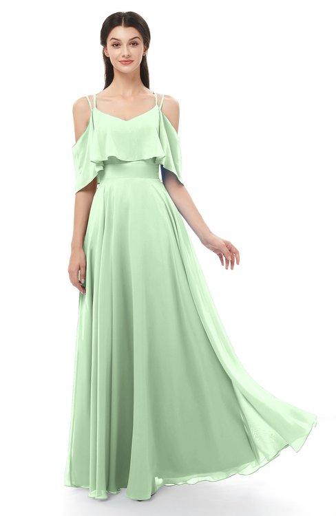 ColsBM Jamie Light Green Bridesmaid Dresses Floor Length Pleated V-neck Half Backless A-line Modern