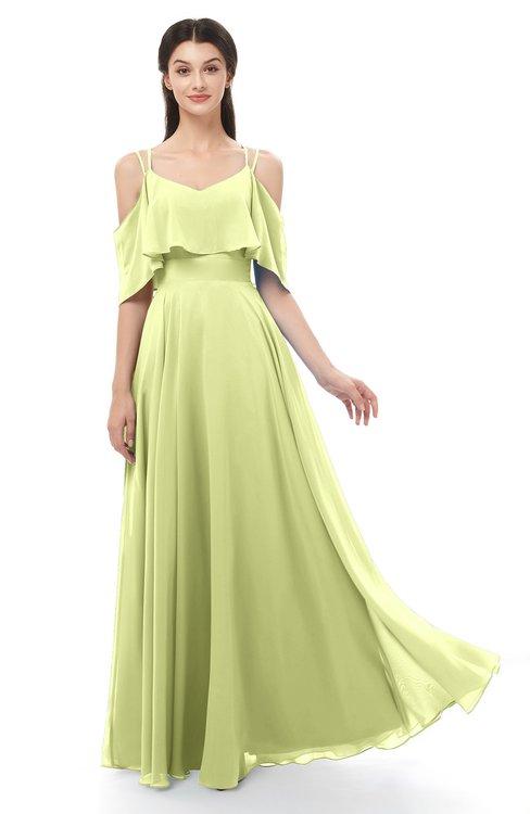 ColsBM Jamie Lime Sherbet Bridesmaid Dresses Floor Length Pleated V-neck Half Backless A-line Modern