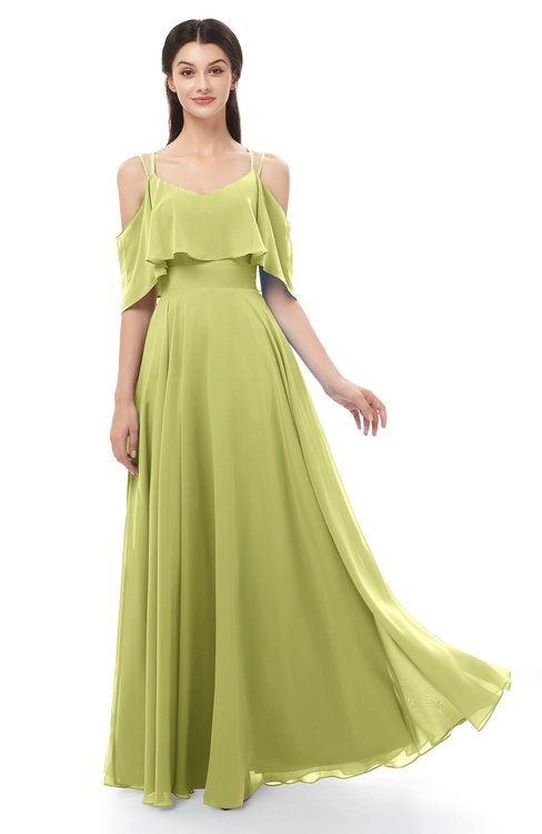 ColsBM Jamie Linden Green Bridesmaid Dresses Floor Length Pleated V-neck Half Backless A-line Modern
