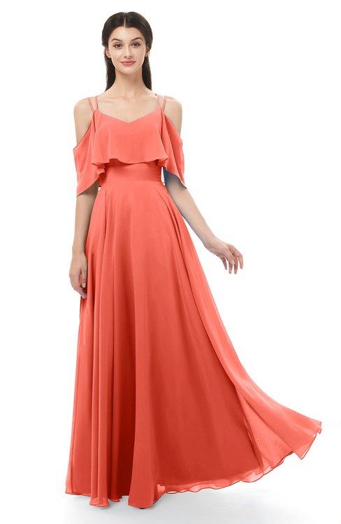 ColsBM Jamie Living Coral Bridesmaid Dresses Floor Length Pleated V-neck Half Backless A-line Modern