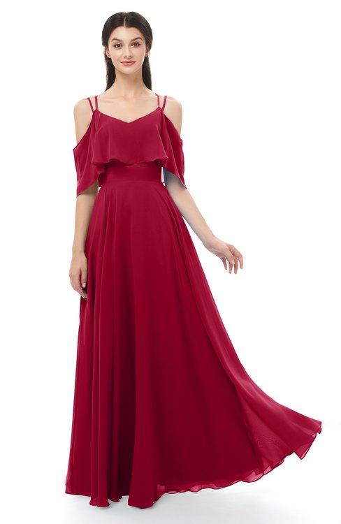 ColsBM Jamie Maroon Bridesmaid Dresses Floor Length Pleated V-neck Half Backless A-line Modern