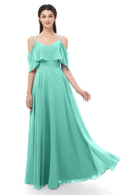 ColsBM Jamie Mint Green Bridesmaid Dresses Floor Length Pleated V-neck Half Backless A-line Modern