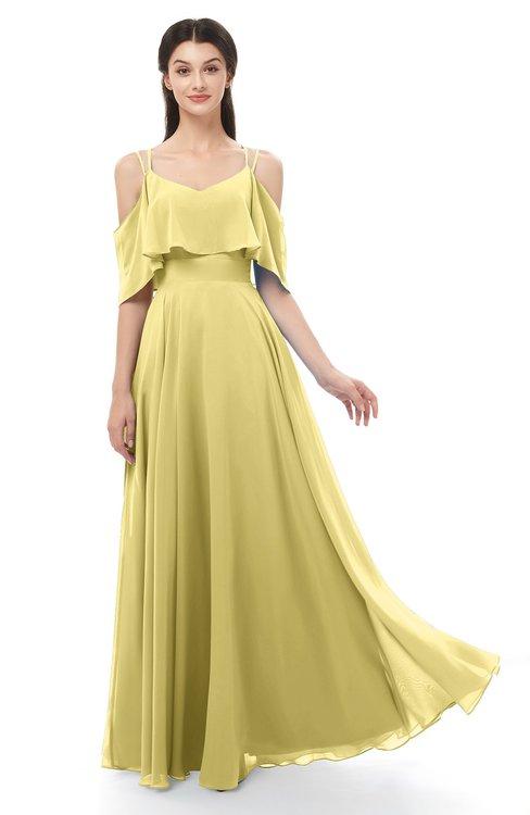 ColsBM Jamie Misted Yellow Bridesmaid Dresses Floor Length Pleated V-neck Half Backless A-line Modern