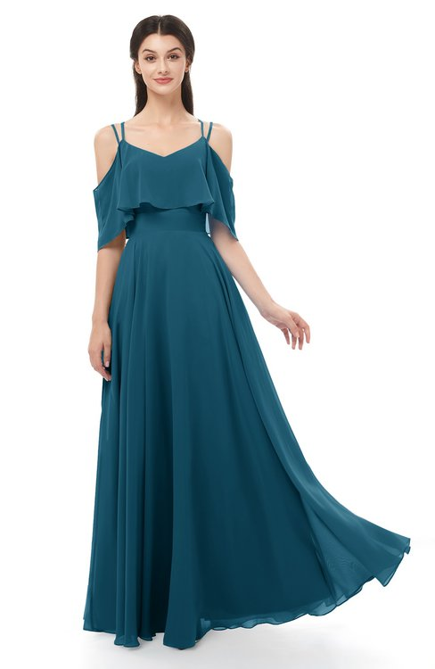 ColsBM Jamie Moroccan Blue Bridesmaid Dresses Floor Length Pleated V-neck Half Backless A-line Modern