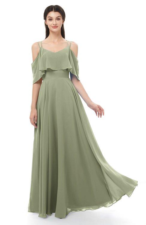 ColsBM Jamie Moss Green Bridesmaid Dresses Floor Length Pleated V-neck Half Backless A-line Modern