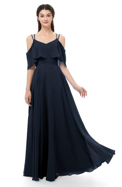 ColsBM Jamie Navy Blue Bridesmaid Dresses Floor Length Pleated V-neck Half Backless A-line Modern