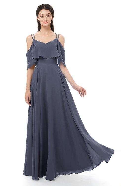 ColsBM Jamie Nightshadow Blue Bridesmaid Dresses Floor Length Pleated V-neck Half Backless A-line Modern