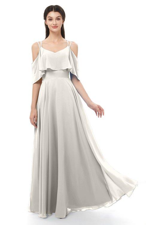 ColsBM Jamie Off White Bridesmaid Dresses Floor Length Pleated V-neck Half Backless A-line Modern