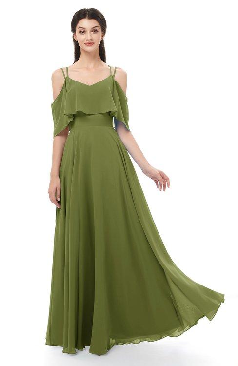 ColsBM Jamie Olive Green Bridesmaid Dresses Floor Length Pleated V-neck Half Backless A-line Modern