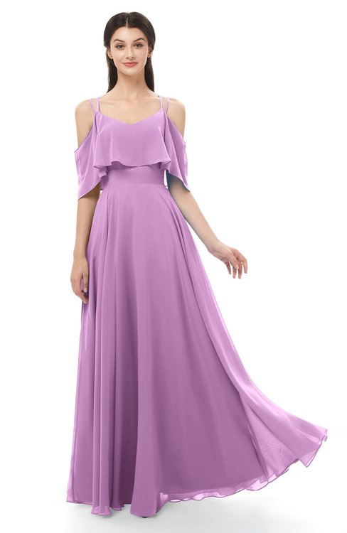 ColsBM Jamie Orchid Bridesmaid Dresses Floor Length Pleated V-neck Half Backless A-line Modern