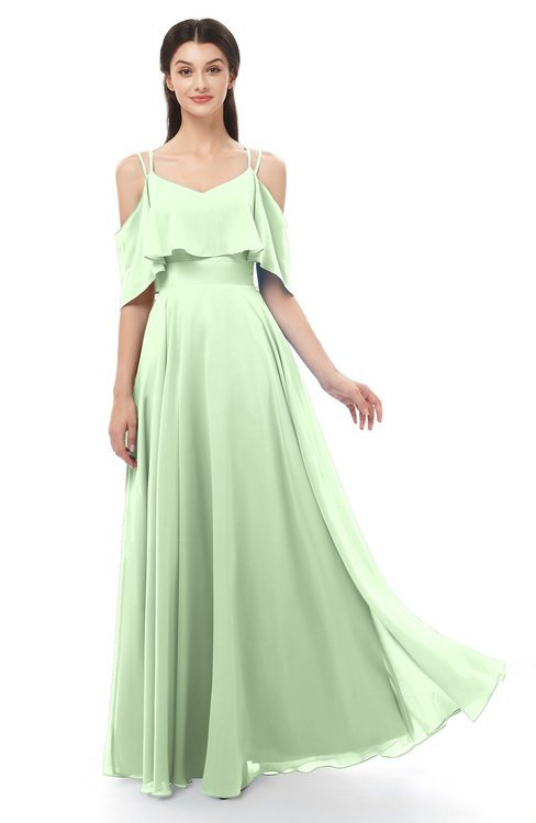 ColsBM Jamie Pale Green Bridesmaid Dresses Floor Length Pleated V-neck Half Backless A-line Modern