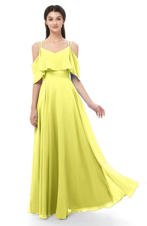 ColsBM Jamie Pale Yellow Bridesmaid Dresses Floor Length Pleated V-neck Half Backless A-line Modern