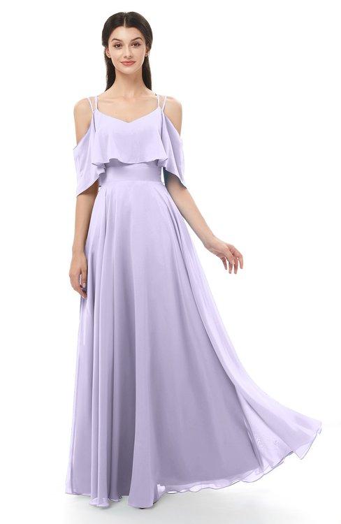 ColsBM Jamie Pastel Lilac Bridesmaid Dresses Floor Length Pleated V-neck Half Backless A-line Modern