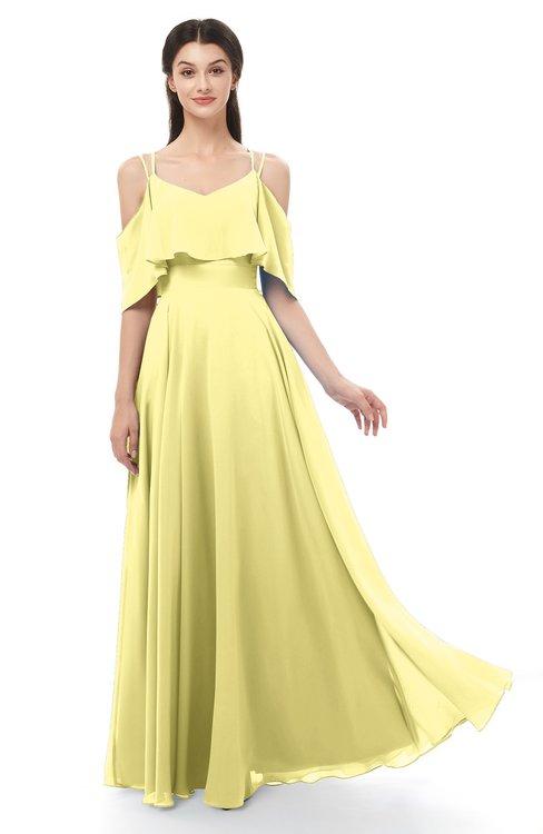 ColsBM Jamie Pastel Yellow Bridesmaid Dresses Floor Length Pleated V-neck Half Backless A-line Modern