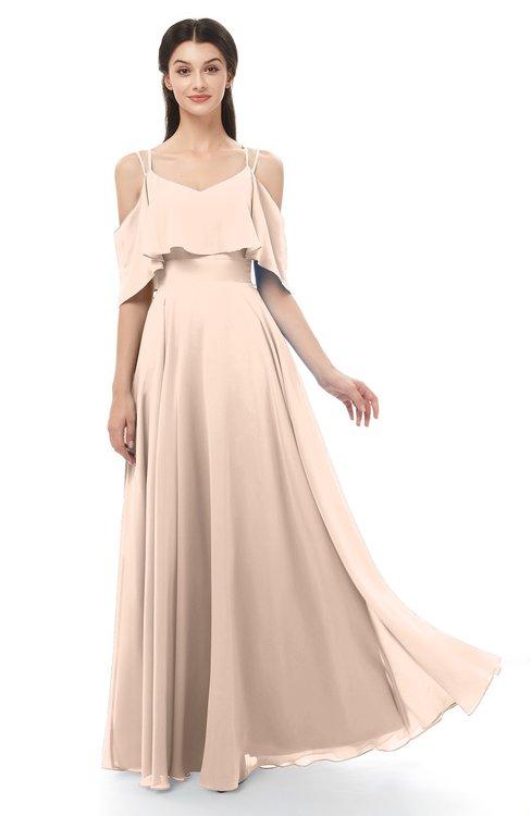 ColsBM Jamie Peach Puree Bridesmaid Dresses Floor Length Pleated V-neck Half Backless A-line Modern