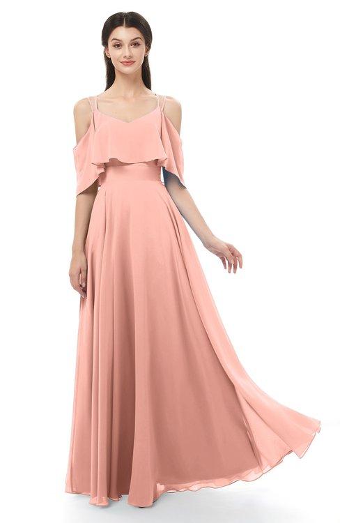 ColsBM Jamie Peach Bridesmaid Dresses Floor Length Pleated V-neck Half Backless A-line Modern