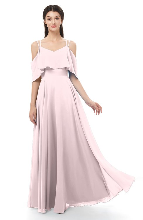 ColsBM Jamie Petal Pink Bridesmaid Dresses Floor Length Pleated V-neck Half Backless A-line Modern